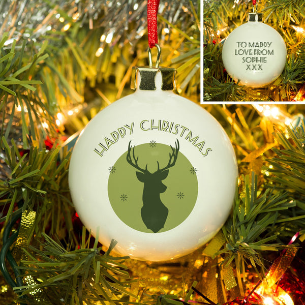 Green Stag Bone China Bauble