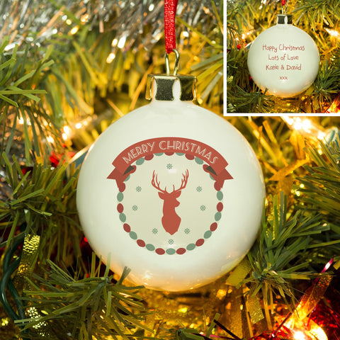 Merry Christmas Stag Bone China Bauble