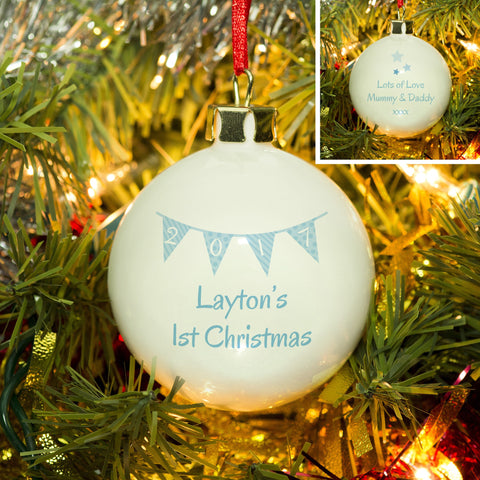 Blue Bunting Christmas Bauble