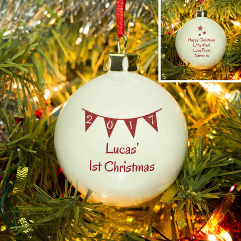 Red  Bunting Christmas Bauble