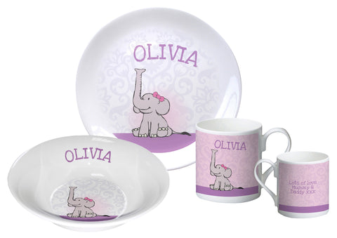 Baby Girl Elephant breakfast set