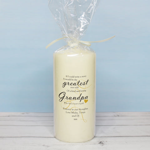 Memorial Greatest Story Pillar Candle