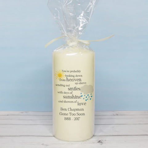 Showers of Love Memorial Pillar Candle