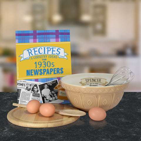 Personalised Tan mixing bowl and 1930 recipe book