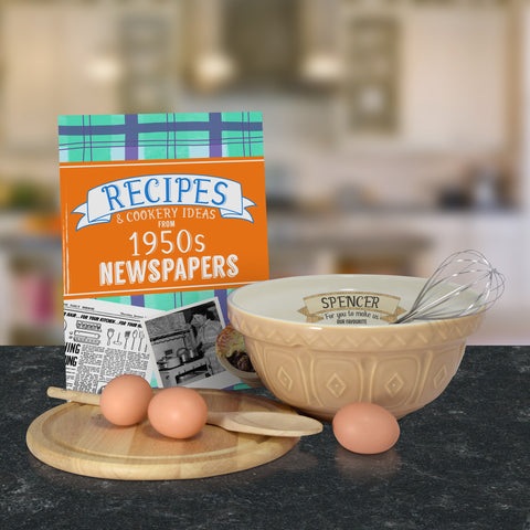 Personalised Tan mixing bowl and 1950 recipe book