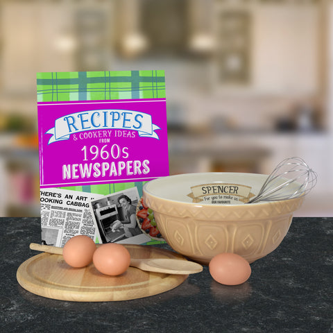 Personalised Tan mixing bowl and 1960 recipe book