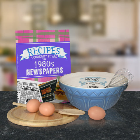 Personalised Blue mixing bowl and 1980 recipe book