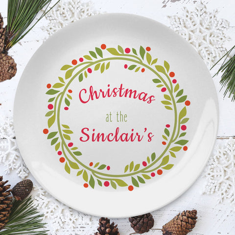 Personalised Contemporary Christmas Wreath 8 inch Plate