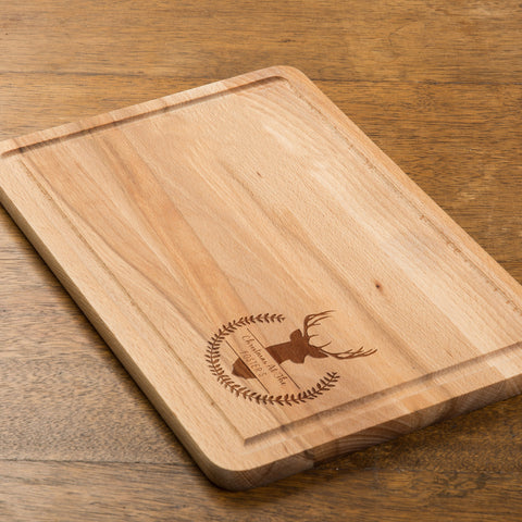 Personalised Christmas Stag Rectangular Chopping Board