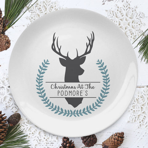 Personalised Christmas Stag 8 inch Plate