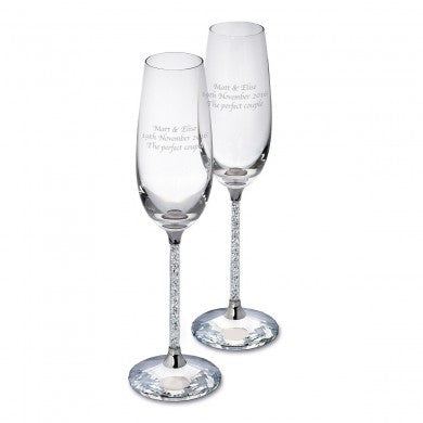 Pair of Diamante Filled Flutes | ShaneToddGifts.co.uk