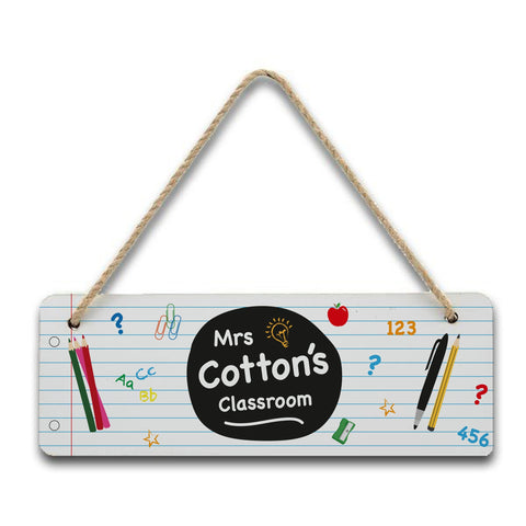 Personalised Lined Paper Teacher Hanging Sign