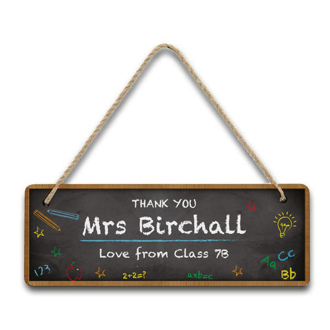 Personalised Chalkboard Classroom Hanging Sign