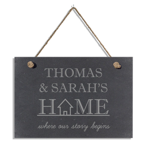 Personalised Where our story begins slate hanging sign