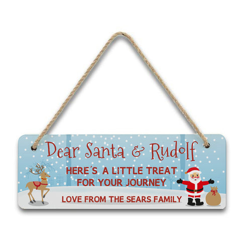 Personalised Treats for Santa Hanging Sign
