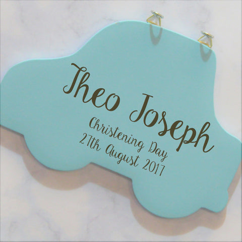 Personalised Christening Day Car Hanging Sign