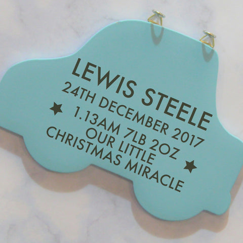 Personalised Birth Blue Car Hanging Sign