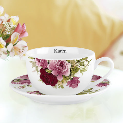 Pink Roses Cup and Saucer | ShaneToddGifts.co.uk