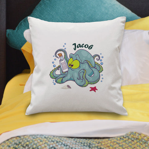 Underwater Adventure Octopus Cushion Cover - Teal