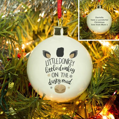 Personalised Little Donkey Bauble