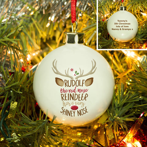 Personalised Rudolph the Red-Nosed Reindeer Bauble