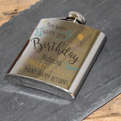 Personalised Birthday Slogan Hip Flask | ShaneToddGifts.co.uk