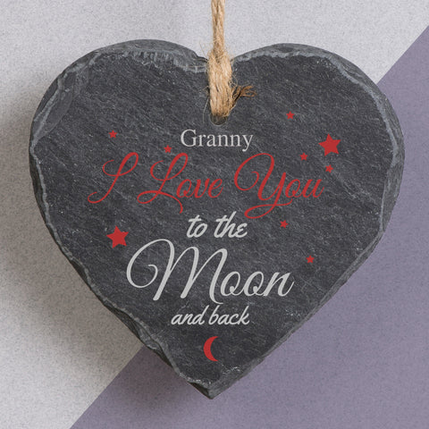 To The Moon And Back Printed Slate Heart