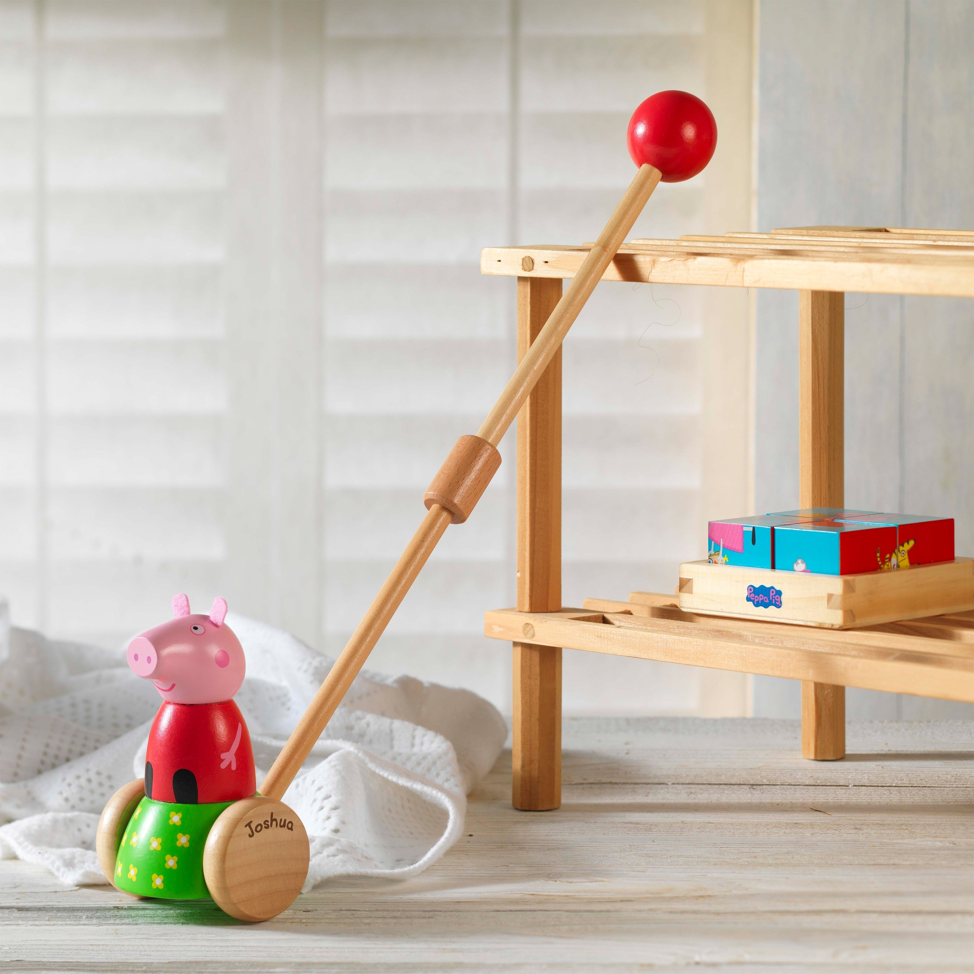 Peppa Pig Wooden Push Along, Gift Giving by Low Cost Gifts