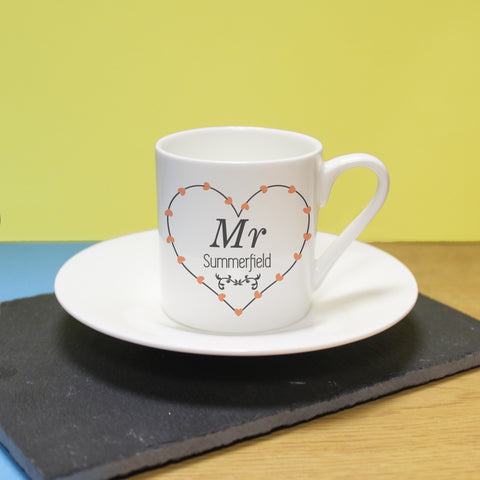 Personalised Mr Heart Espresso Cup & Saucer