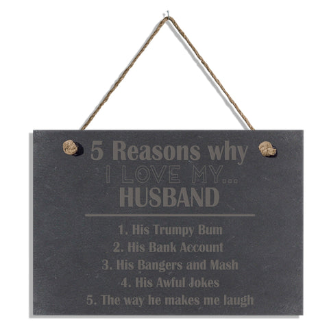 Personalised Five Reasons Why Hanging Slate Sign