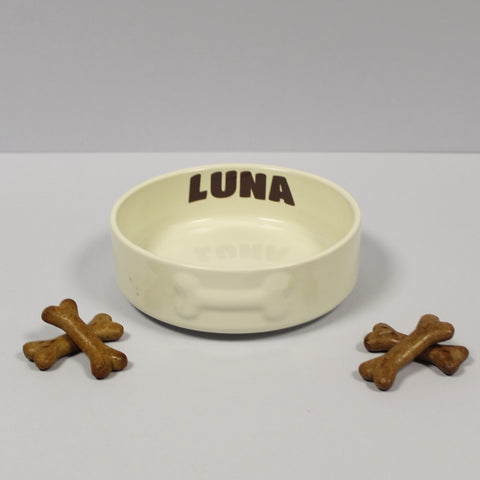 Personalised Small Cream Pet bowl