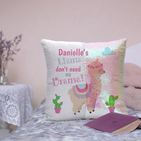 Iridescent Sequin Drama Llama Cushion