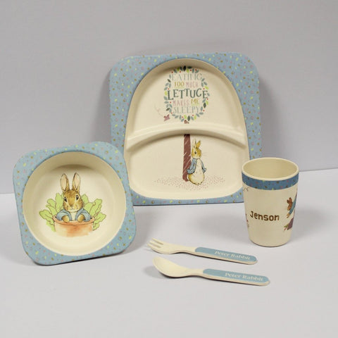 Personalised Peter Rabbit Bamboo Breakfast Set