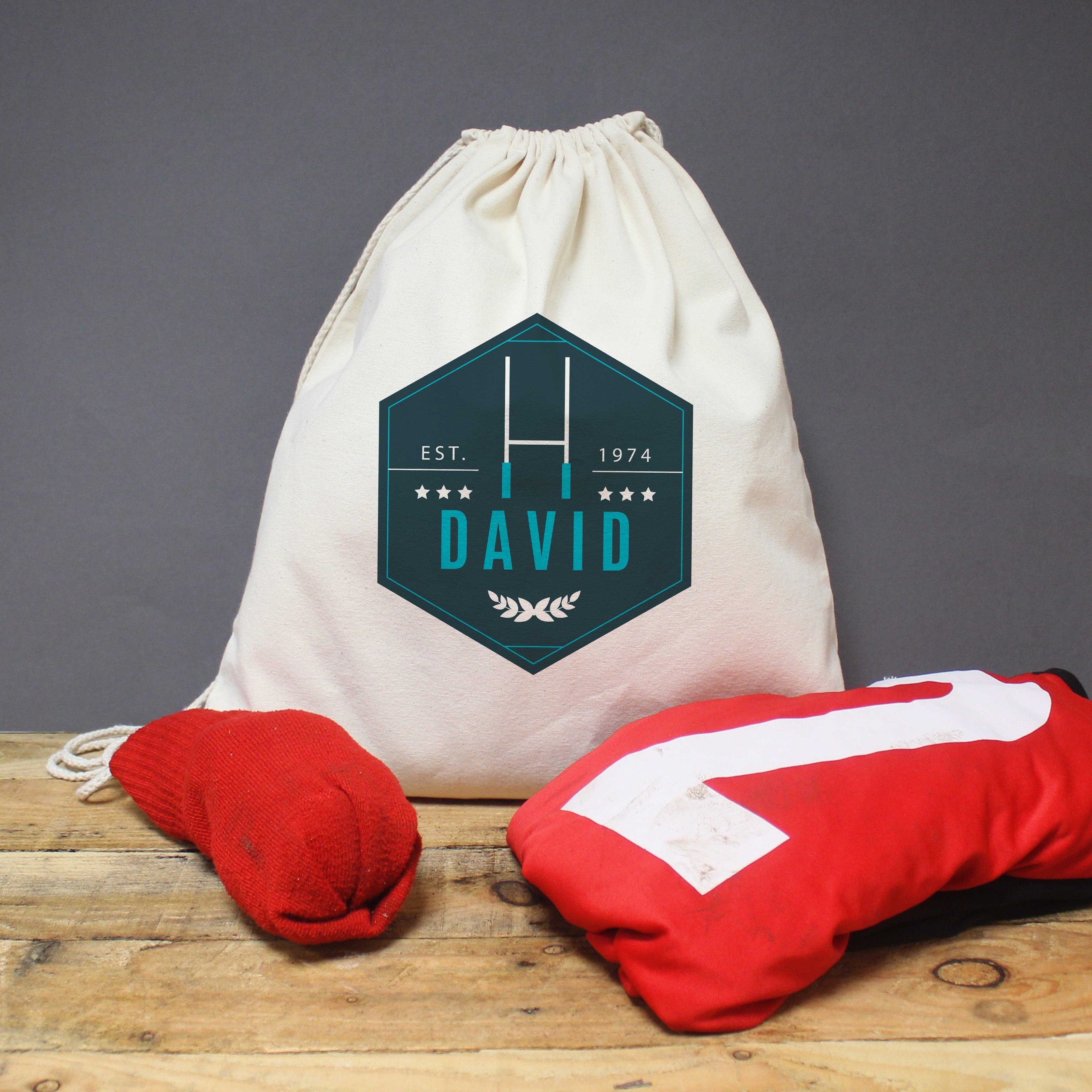 Blue Rugby Drawstring Kit Bag, Luggage & Bags by Low Cost Gifts
