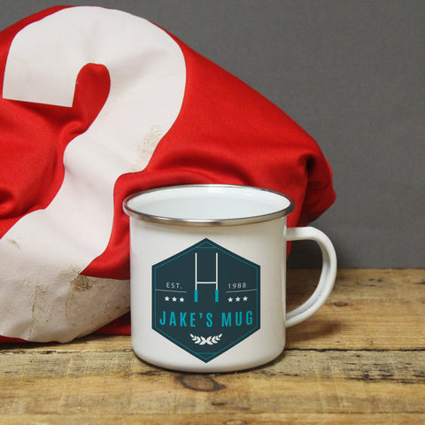 Personalised Blue Rugby Enamel Mug