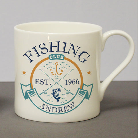 Personalised Fishing Club Chunky Bone China Mug