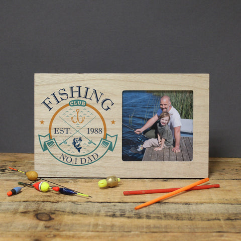 Personalised Fishing Club Wooden Panel Photo Frame