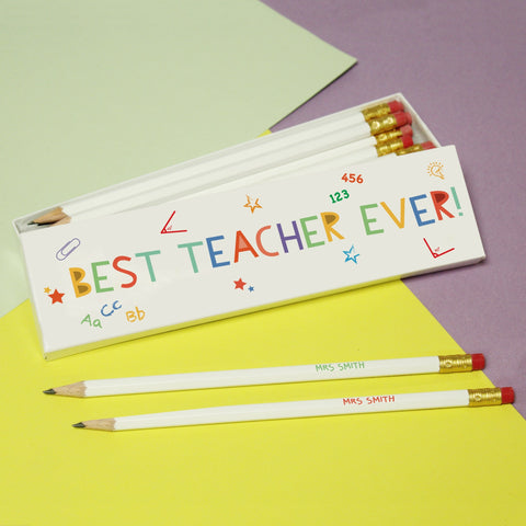 Personalised Best Teacher Ever Pencils & Box