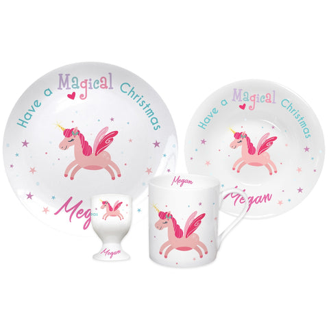 Personalised Magical Unicorn Christmas Breakfast Set