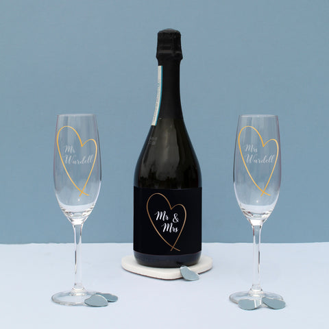 Personalised Mr & Mrs Gold Heart Prosecco Gift Set