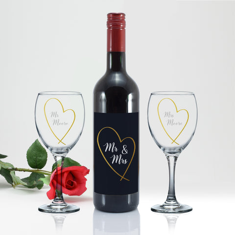 Personalised Mr & Mrs Gold Heart Red Wine Gift Set