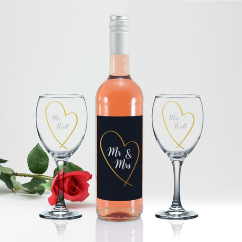 Personalised Mr & Mrs Gold Heart Rosé Wine Gift Set