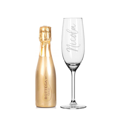 Personalised 200ml Gold Bottega Prosecco & Flute Set