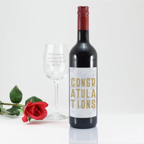 Personalised Congratulations Red Wine Gift Set