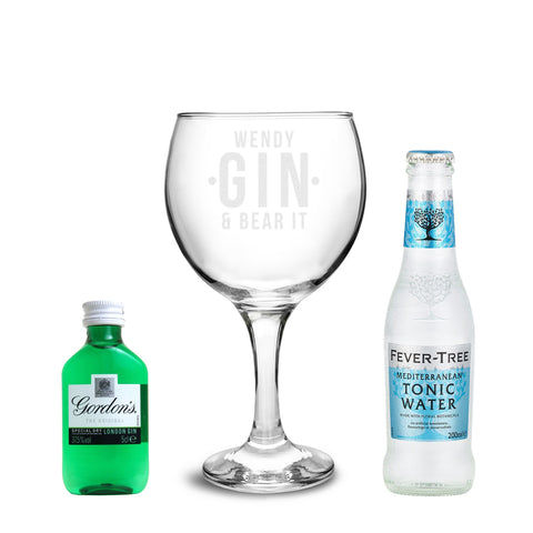 Personalised Gin and Bear It Balloon Gift Set