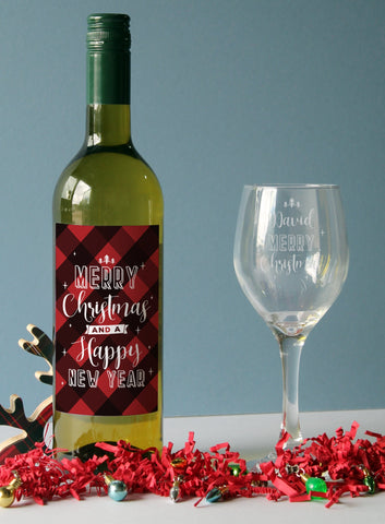 Personalised Merry Christmas White Wine Gift Set