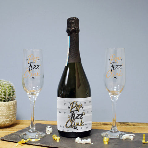 Personalised Pop, Fizz, Clink Set of 2 Flutes Prosecco Gift Set