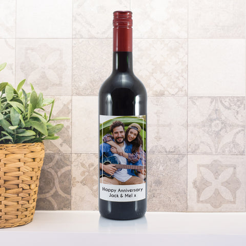 Personalised Photo Upload Bottle Of Red Wine