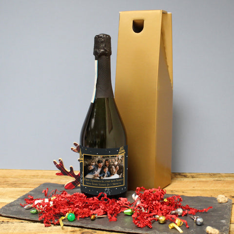 Personalised Christmas Tree Photo Upload Bottle Of Prosecco