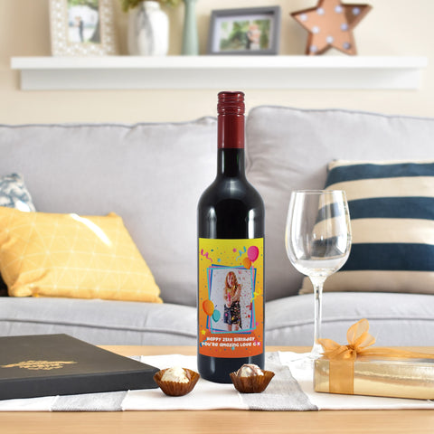 Personalised Colourful Birthday Photo Upload Bottle Of Red Wine